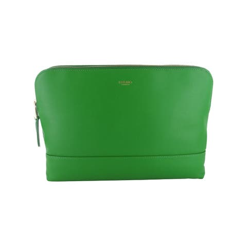 Knomo Womens Mayfair Collection Davies Double Zip Clutch Crossbody Bag, Green