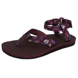 Teva Womens Original Sandal Floral Satin Sandal Shoes, Zinfandel