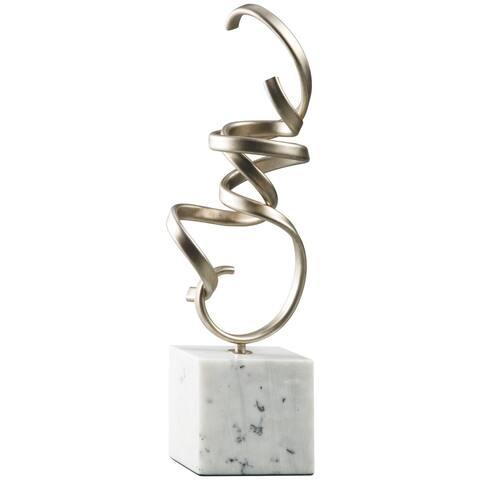 "Pallaton Metal/Marble Sculpture - Inches: 7.25"" W x 4"" D x 21"" H"