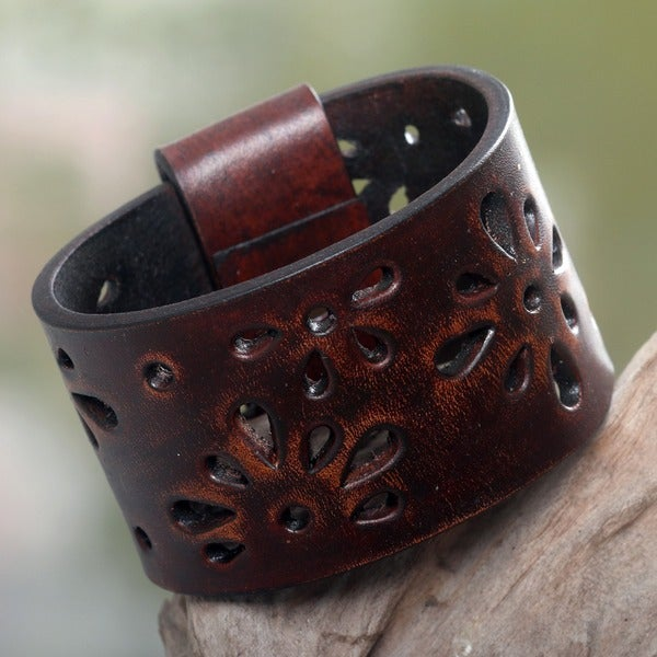 Boho Hippie Floral Cutouts Polished Brown Leather Cuff Bracelet (Indonesia)