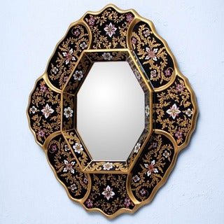 Deepest Midnight Handmade Framed Mirror (Peru)