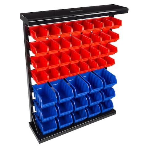 47 Bin Storage Rack Organizer- Wall Mountable Container by Stalwart - 37.89 x 11.03 x 45.28