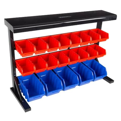 21 Bin Storage Rack Organizer- Wall Mountable Container by Stalwart - 36.22 x 13.19 x 25.2