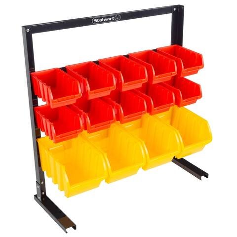 14 Bin Storage Rack Organizer- Wall Mountable Container by Stalwart - 25.2 x 9.64 x 25.59