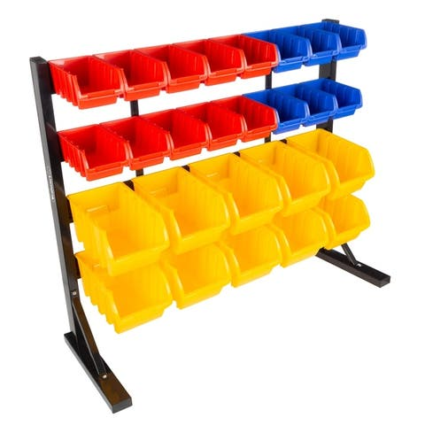 26 Bin Storage Rack Organizer- Wall Mountable Container by Stalwart - 35.36 x 12.98 x 30.23