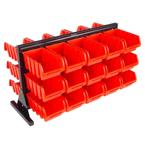 30 Bin Storage Rack Organizer- Two Sided Container by Stalwart - 21.06 x 9.45 x 15.75