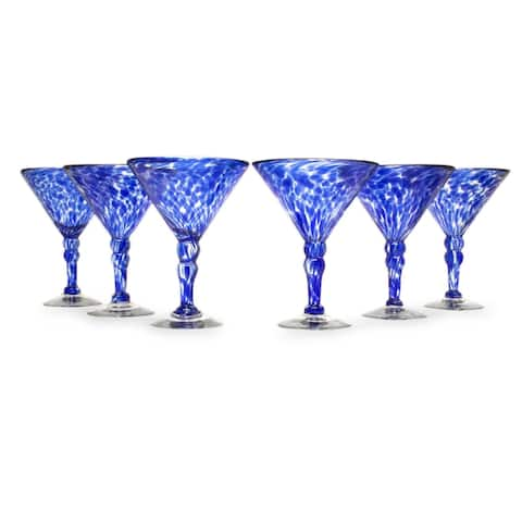 Martini glasses Dotted Blue set of 6
