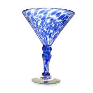 Dotted Blue Clear with Cobalt Set of Six Barware or Hostess Gift Unique Stemmed Handblown Cocktail Martini Glasses (Mexico)