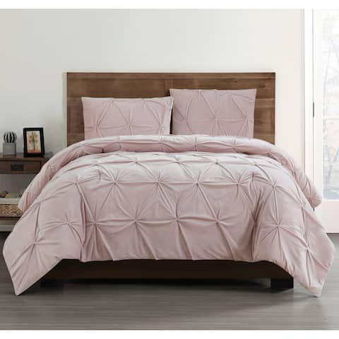 Truly Soft Pleated Velvet 3 Piece Comforter Set