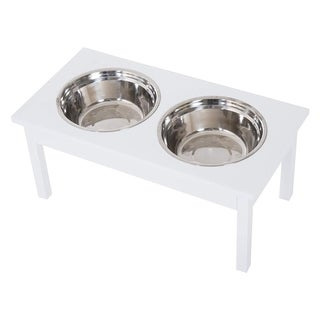 "Link to PawHut 23"" Elevated Durable Wooden Heavy Duty Dog Pet Bowl Feeding Station - White Similar Items in Dog Feeders & Waterers"