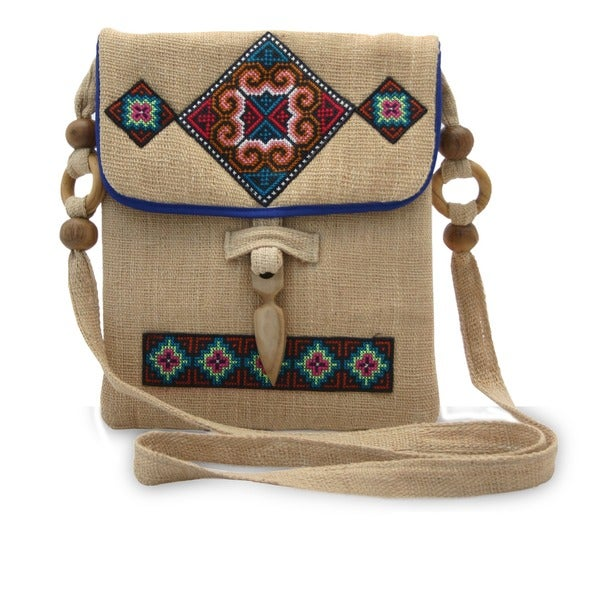 Handmade Miracle Earth Multicolor Traditional Tribal Embroidery on Natural Hemp Crossbody Shoulder Bag (Thail