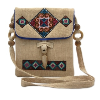 Miracle Earth Multicolor Traditional Tribal Embroidery on Natural Hemp Crossbody Shoulder Bag (Thailand)