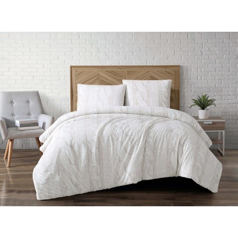 Brooklyn Loom Cable Knit Printed Velvet 3 Piece Duvet Cover Set