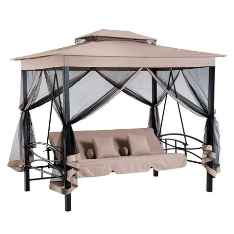 Outsunny 3 Person Outdoor Patio Daybed Gazebo Swing With UV Resistant Canopy And Mesh Walls