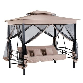 Outsunny 3-Person Beige/Black Outdoor Patio Daybed Gazebo Swing with UV-Resistant Canopy and Mesh Walls