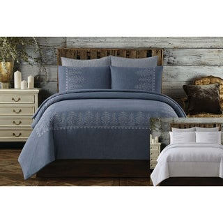 Cottage Classics Chambray Cotton Embroidered Border 3 Piece Comforter