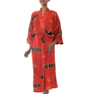 Sunset Red Handmade Women's Fashion Batik Wrap Bath Robe (Indonesia)