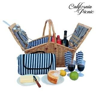 Picnic Basket Set 4 Person Picnic Hamper Set Double Lid Golden Collection Waterproof Picnic Blanket, Plates, Wine Glasses