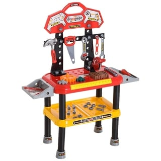 Qaba 74 Piece Kids Portable Pretend Play Toy Tool Workshop Bench Table Set With Shelf