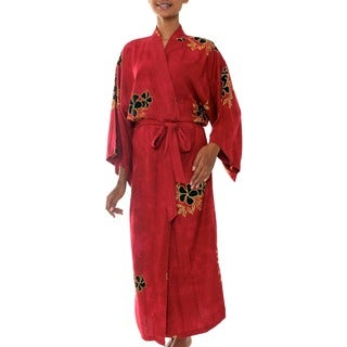 Hibiscus Red Soft Black and Yellow Flower Batik Print Wide Sleeve Self Tie Lounge Wear or Bath Womens Long Robe (Indonesia)