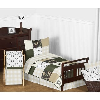 Sweet Jojo Designs Green Beige Deer Buffalo Plaid Check Woodland Camo Camouflage Collection Boy 5p Toddler Comforter Set