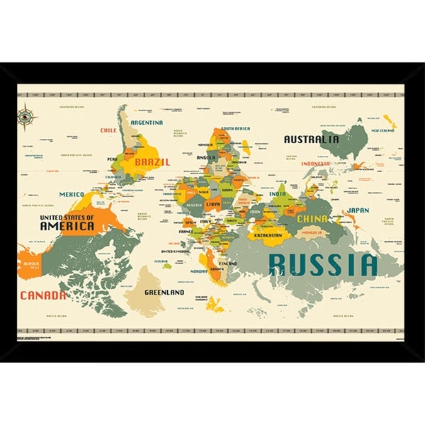 Australia Map Upside.Shop World Map Upside Down Poster With Choice Of Frame 24x34