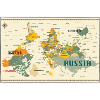 World Map Upside Down Poster With Choice of Frame (24x34)
