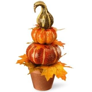 "15"" Potted Pumpkin Decor"