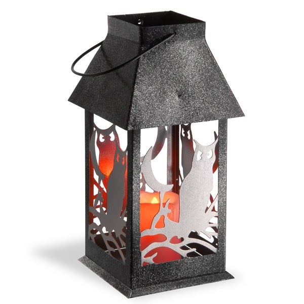 "12"" Owl Lantern with Candle"