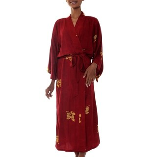 Handmade Red Passion Hibiscus Flowers Tropical Black Gold Wrap Bath Robe (Indonesia)