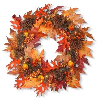 """24"""" Maple Wreath with Clear Lights"""
