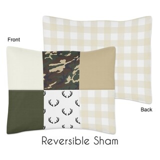 Sweet Jojo Designs Green and Beige Deer Buffalo Plaid Check Woodland Camo Collection Standard Pillow Sham