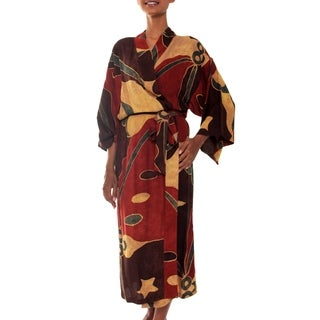 Coral Reefs Handmade Artisan Designer Tropical Women's Clothing Fashion Red Gray Gold Wide Sleeves Wrap Bath Robe (Indonesia)