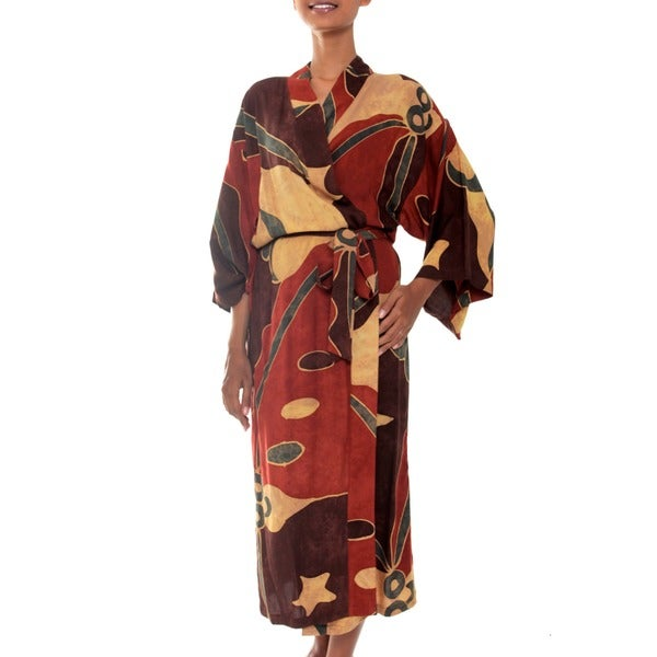 Coral Reefs Handmade Tropical Wide Sleeves Wrap Bath Robe (Indonesia)