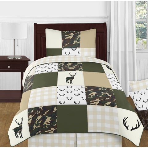 Sweet Jojo Designs Green Beige Deer Buffalo Plaid Check Woodland Camo Camouflage Collection Boy 4p Twin Comforter Set