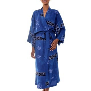 Handmade Women's Deep Blue Sea Batik Robe (Indonesia)