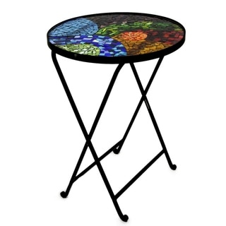 Colorful Spectacle Indoor Outdoor Handcrafted Multicolor Artisan Stained Glass Mosaic Top Forged Iron Folding Table (Mexico)