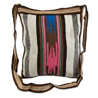 Andean Dream Traditional Artisan Handmade Handwoven Green Red Pink Brown Wool Cotton Sling Bag Book Satchel Shoulder Bag (Peru)