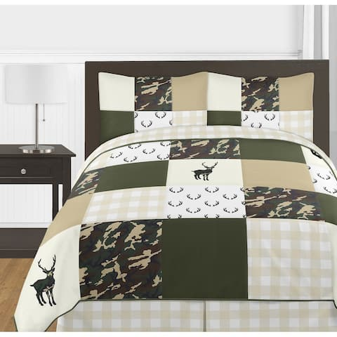 Sweet Jojo Designs Green and Beige Deer Buffalo Plaid Check Woodland Camo Collection Boy 3pc Full / Queen Comforter Set