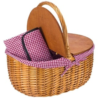 CALIFORNIA PICNIC Double Wood Top Design Matching Gingham Patterned Picnic Waterproof Backing Willow Basket