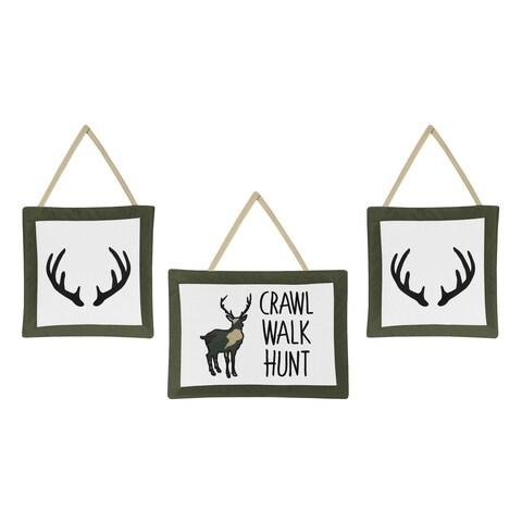 Sweet Jojo Designs Green and Beige Rustic Deer Woodland Camo Collection Wall Hangings (Set of 3)