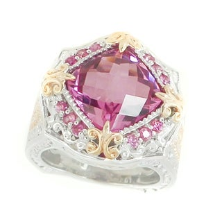 Michael Valitutti Palladium Silver Cushion Kunzite & Pink Sapphire Ring