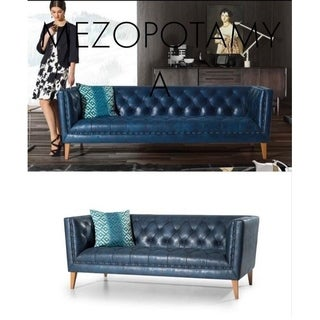 Mesopotamia Italian Design Mid Century Modern Premium Quality Blue Sofa