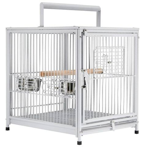 """PawHut 22"""" Heavy Duty Wrought Iron Travel Bird Cage Carrier with Handle Perch and Accessories - White"""