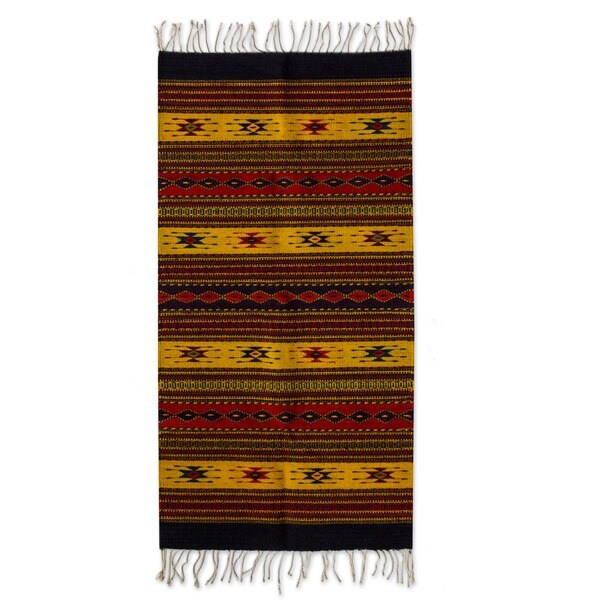 Mexican Zapotec Oaxaca Sun Wool Rug (2'6 x 5')