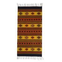 Handmade Zapotec Oaxaca Sun Wool Rug 2.6 x 5 Ft (Mexican) - 2.6' x 4.9'