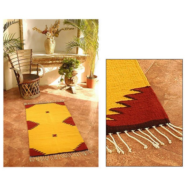 Shop Handmade Mexican Burning Mountains Wool Rug (2.5' X 5