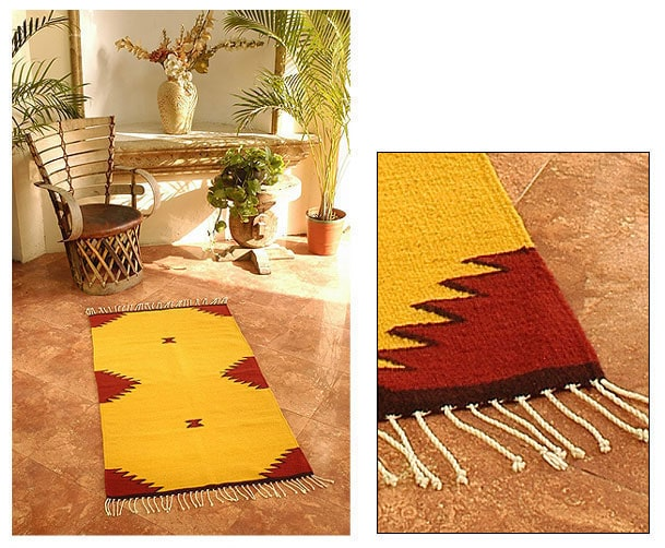 Mexican Burning Mountains Wool Rug (2.5' x 5')