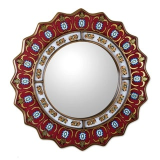Handmade Ruby Medallion Mirror (Peru)