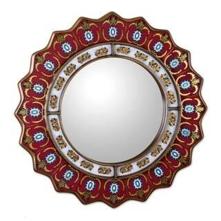 Handmade Ruby Medallion Mirror (Peru)|https://ak1.ostkcdn.com/images/products/2300915/P10547373.jpg?impolicy=medium